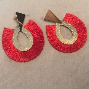 New red tassel earrings